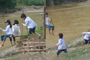 Thót tim xem học sinh tiểu học Sập Xa đu cáp treo qua suối đến trường