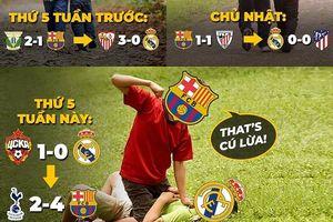 Biếm họa 24h: Real nhận cú lừa từ Barca, Messi có kiểu ăn mừng 'lạ'