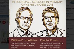 Nobel Kinh tế 2018 cho giải pháp tăng trưởng bền vững và bảo vệ phúc lợi