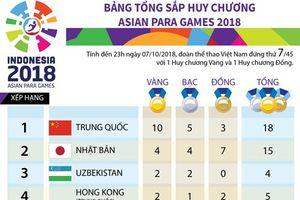 Đoàn thể thao Việt Nam đang tạm đứng thứ 7 ở Asian Para Games 2018