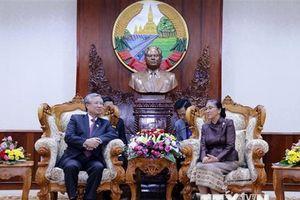Thường trực Ban Bí thư hội kiến với Chủ tịch Quốc hội Lào