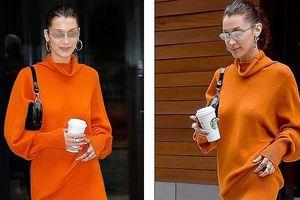 Nàng mẫu 9X Bella Hadid kiêu sa với đầm cam rực rỡ