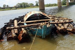 Gỗ lậu 'vi vu' trên sông Thu Bồn