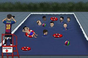 Biếm họa 24h: Messi cứu rỗi Barca, Ronaldo sốt vó vì cáo buộc hiếp dâm