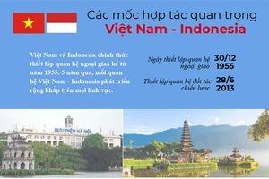 Các dấu mốc hợp tác quan trọng Việt Nam – Indonesia