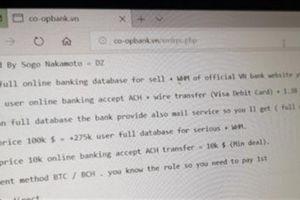 Website ngân hàng HTX Việt Nam bị hack, đòi 100.000 USD