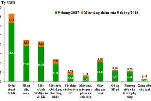 Những nhóm hàng xuất khẩu chính 9 tháng năm 2018