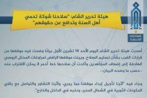 Nhóm thánh chiến lớn nhất Syria ra tuyên bố cứng rắn về vùng đệm Idlib