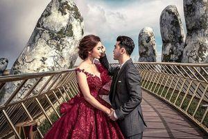 Ưng Hoàng Phúc, Kim Cương chụp ảnh cưới tại cây cầu bàn tay ở Bà Nà