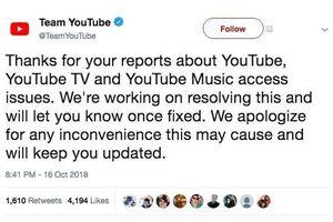 YouTube xin lỗi người dùng vì lỗi không thể truy cập, đang khắc phục sự cố