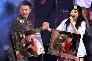 'Chết cười' với chùm ảnh Daesung (BigBang) rón rén nhặt áo Dara (2NE1) khi hậu bối đang biểu diễn