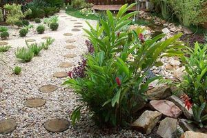 Sân vườn quyến rũ với sỏi và đá tự nhiên