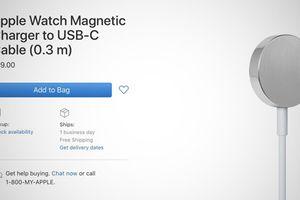 Apple Watch đã có thêm dây sạc kết nối USB-C