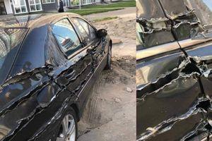 Chiếc xe hơi bị 'xé rách', dân mạng hoang mang vì không rõ nguyên nhân