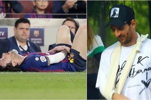 Chấn thương nặng, Messi vẫn tươi rói xuống phố với cái tay bó bột
