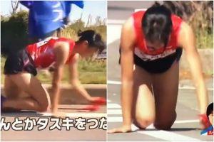 Khâm phục cô gái Nhật bò trên đường chạy dù đầu gối rớm máu