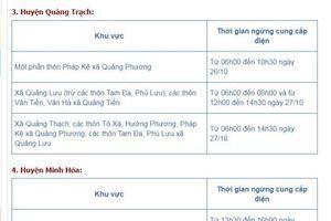 Lịch cắt điện từ ngày 25/10/2018 đến ngày 31/10/2018 trên địa bàn tỉnh Quảng Bình