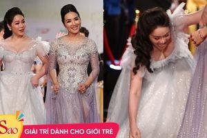 Nhật Kim Anh suýt lộ ngực vì vấp ngã trên thảm đỏ LHP quốc tế Hà Nội