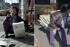 Bà lão 82 tuổi dành hơn 14 giờ lang thang trên đường thu gom bìa giấy chỉ để kiếm hơn 40 nghìn