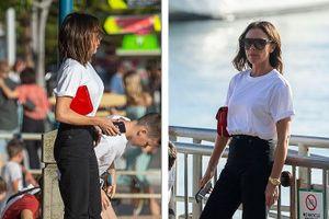 Victoria Beckham ăn vận sành điệu, ngắm các con vui đùa trên bãi biển