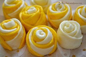 Mãn nhãn món bánh bao hoa hồng rực rỡ sắc màu