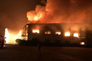 Cháy dữ dội công ty gỗ ở Bình Dương, dân bỏ chạy tán loạn