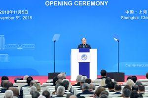 Thủ tưởng Chính phủ Nguyễn Xuân Phúc phát biểu tại Lễ Khai mạc Hội chợ nhập khẩu quốc tế Trung Quốc lần thứ nhất