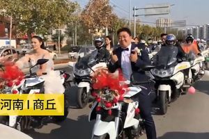 Cô dâu 'chất nhất năm' lái mô tô phân khối lớn náo loạn đường phố