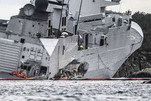 Chiến hạm Na Uy chìm dần sau va chạm với tàu chở dầu 112.000 tấn
