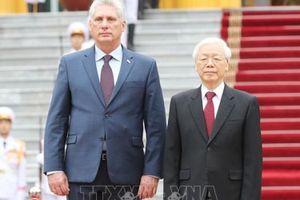 Lễ đón Chủ tịch HĐNN và HĐBT Cuba thăm hữu nghị chính thức Việt Nam