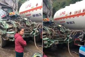 Clip: Xe tải nát đầu sau va chạm xe bồn ở Hòa Bình