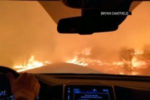 Cô gái lái xe băng qua đám cháy rừng cứu cả gia đình