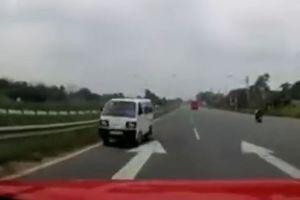 Xe tải chạy ngược chiều lao nhanh như chớp trên cao tốc