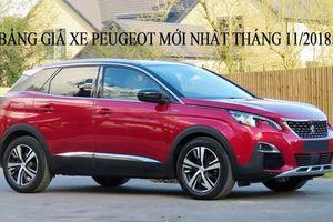 Cập nhật giá xe Peugeot mới nhất tháng 11/2018