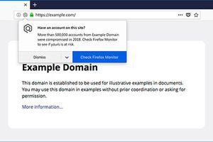 Firefox sẽ thông báo nếu người dùng truy cập trang web bị vi phạm dữ liệu