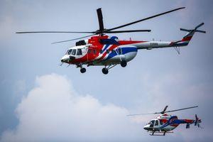 Trực thăng Nga cất cánh trên bầu trời Hà Nội
