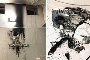 Đèn sưởi trong nhà tắm phát nổ như pháo hoa ở Thái Nguyên