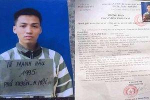 Truy bắt phạm nhân tù chung thân trốn khỏi trại giam ở Thanh Hóa