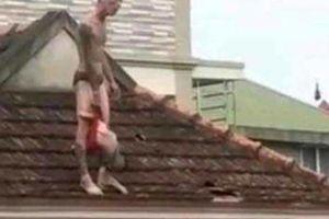 Hãi hùng bố xách con trai hơn 1 tuổi lên nóc nhà rồi... đánh rơi