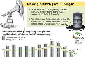 Giá xăng E5 RON 92 giảm 973 đồng mỗi lít