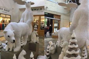 Tượng gấu Bắc Cực trang trí Giáng sinh trong trung tâm thương mại khiến nhiều người 'đỏ mặt'
