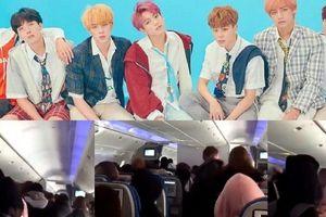 Fan cuồng bám theo BTS trên máy bay?