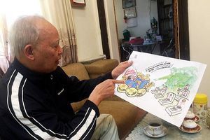 Cụ ông 86 tuổi vẫn miệt mài với tranh biếm