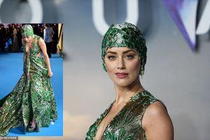 Diện váy 5m, Amber Heard lúng túng trên thảm đỏ 'Aquaman'
