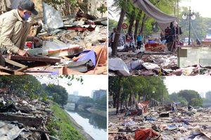 Chợ tạm thành bãi rác khổng lồ bên sông Tô Lịch