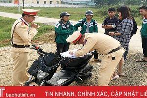 Công an Hương Sơn xử nghiêm học sinh vi phạm an toàn giao thông