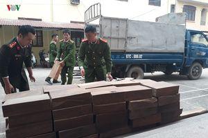 Bắt đối tượng vận chuyển 100 khúc gỗ nghiến ở Cao Bằng