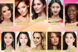 Sau khi lọt top 30, Tiểu Vy thăng hạng trên bảng xếp hạng Miss World