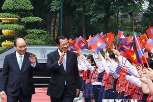 Lễ đón Thủ tướng Campuchia Hun Sen thăm chính thức Việt Nam