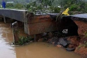 Quảng Trị: Dùng ván bắc cầu đi lại sau mưa lũ